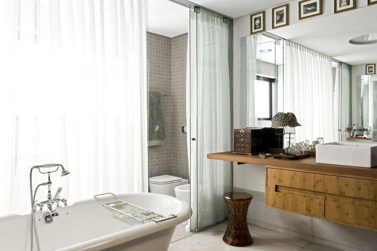 Banheiros projetos que não utilizam azulejos em todo o revestimento  Casa e -> Decoracao Azuleijo Banheiro