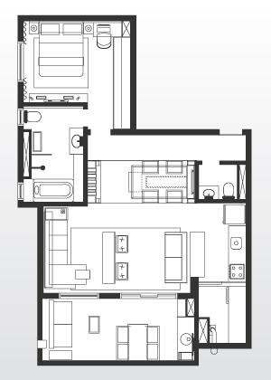 No apartamento de 75 m² as áreas sociais foram privilegiadas. As salas de jantar, estar e cozinha foram integradas. Na parte íntima encontra-se uma suíte que, além do banheiro, conta com um pequeno home office implantado em um nicho ao lado do guarda-roupas