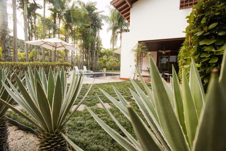 Os suculentos agaves do canteiro são contornados por grama preta, o que enfatiza o estilo tropical do jardim planejado por Faisal