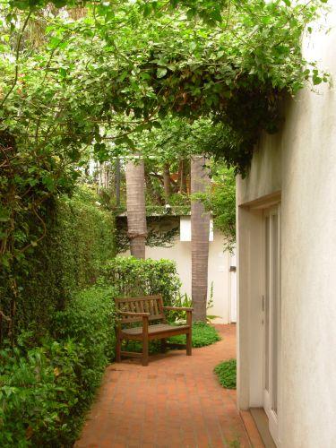 Vista do corredor lateral no sentido da entrada da casa. Atrás do banco, os arbustos médios são camélias (Camellia japônica), a cerca viva, rente ao muro, é tumbérgia arbustiva (Thunbergia erecta) e a parede à esquerda é forrada com unha-de-gato (Uncaria tomentosa). Projeto do escritório paulistano Grama e Flor