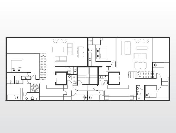 O edifício tem apartamentos de um pavimento, dúplex e triplex. Acima, a planta dos apartamentos 81 e 82, de cobertura: o 81, à esquerda é triplex, com um escritório no 7º piso, o programa de moradia (duas suítes, living, lavabo, cozinha) no 8º, e terraço na cobertura. O 82, à direita, tem três suítes, living, lavabo e cozinha no 8º e terraço na cobertura