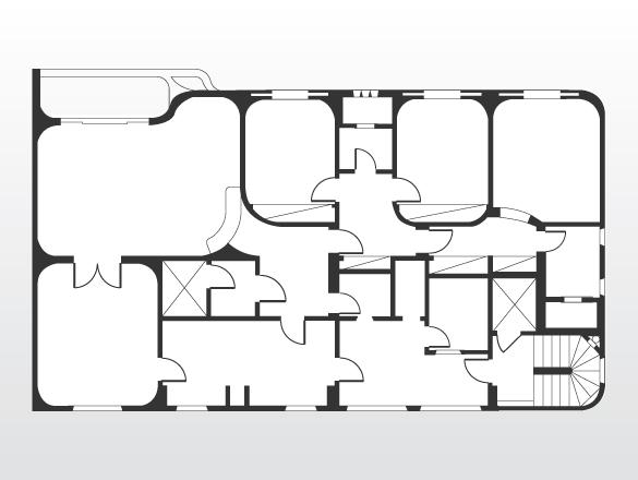 Planta original: antes da reforma, a principal característica do apartamento eram as paredes curvas