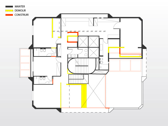 Pavimento superior: além do mezanino com todo aparato de lazer, esse piso abriga as suítes