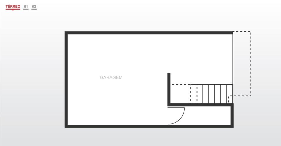 A garagem fica meio nível abaixo do perfil do terreno para evitar que a construção ultrapassasse os 6 m de altura impostos pela legislação
