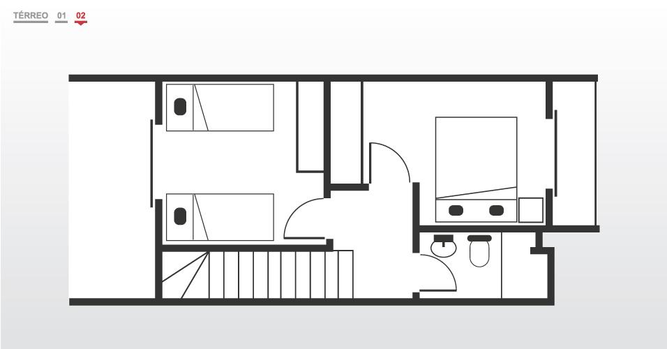 No segundo pavimento, os dois quartos dividem um banheiro