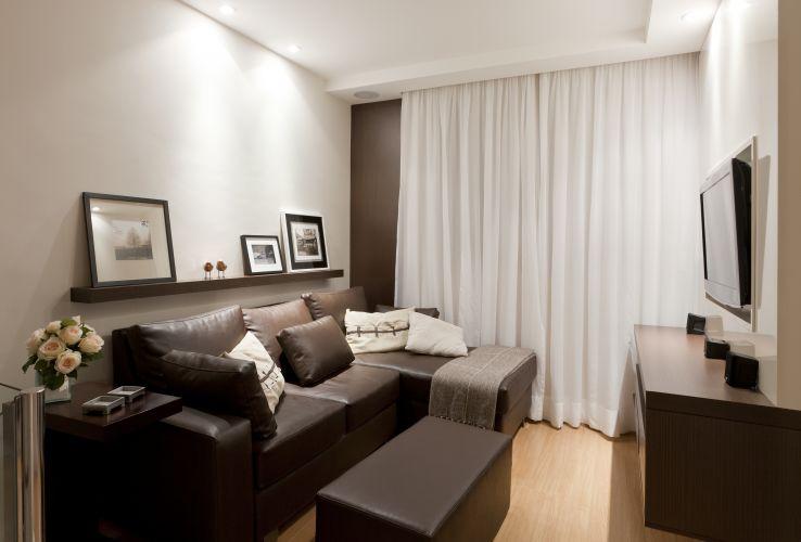 decorar sala branca:Home theater: ideias de projetos confortáveis para assistir à TV
