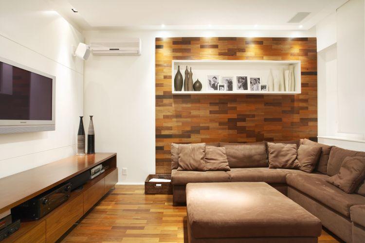 Sala De Tv Com Revestimento ~ Home theater ideias de projetos confortáveis para assistir à TV