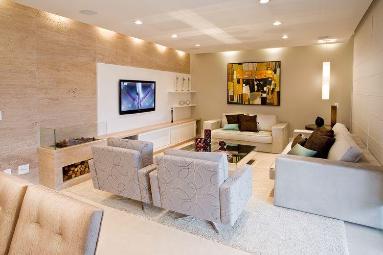 Sala De Estar Moderna Com Tv ~ Home theater ideias de projetos confortáveis para assistir à TV