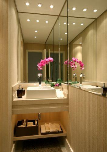 uol decoracao lavabo:É no lavabo, de área mais reduzida, que se percebe a importância e