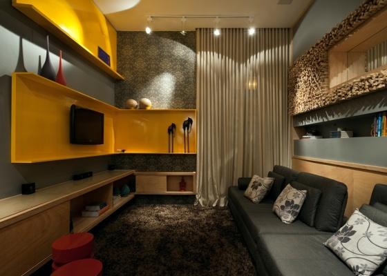 Sala De Tv Projetada ~ Sala de TV projetada por Paola Corteletti e Natalia Botelho Parede