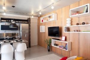 Estúdio de 38 m² nos arredores da Av. Paulista une design, funcionalidade e conforto - Fran Parente/Divulgação