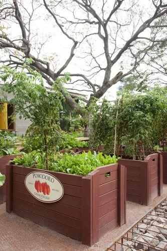 Praça Pomodoro & Pepperone, projetada por Alexandre Furcolin. Em 200 m², Furcolin propõe o resgate dos quintais de antigamente, com horta e pomar. As espécies usadas possuem importância alimentar ou aromática. A Casa Cor SP fica aberta até dia 17 de julho de 2011, no Jockey Club de São Paulo