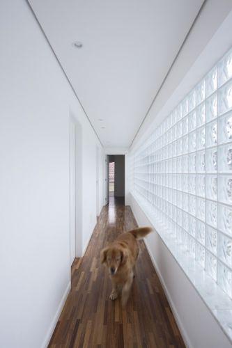 A circulação íntima da casa na Granja Viana, zona sul de São Paulo, projeto do arquiteto Gilberto Belleza. Com iluminação natural proporcionada pelo painel de blocos de vidro