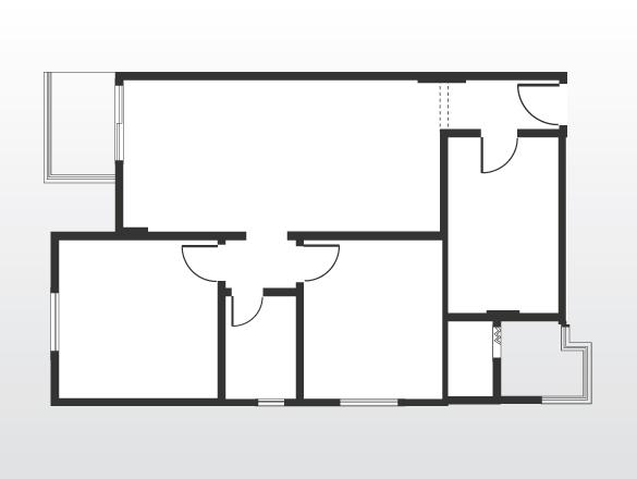 Planta original do apartamento. As paredes que compartimentavam os ambientes foram derrubadas para ampliar e integrar os espaços