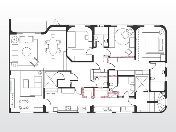 Planta atual: além de remover paredes divisórias para abrir os ambientes e integrar os espaços, a designer retificou as que restaram