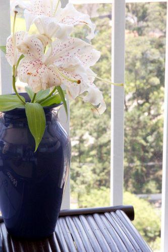 Detalhe do vaso de cerâmica da Tania Bulhões, na varanda projetada pela designer de interiores Marília da Veiga