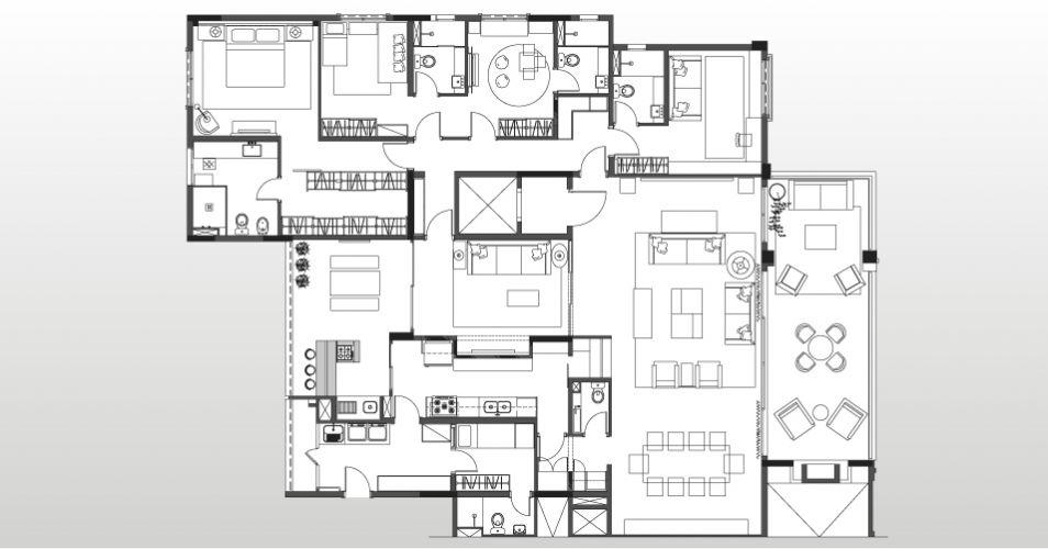 Na planta de layout, a disposição do apartamento decorado por Marília Brunetti de Campos Veiga. À direita, terraço com lateira interligado ao living. No centro, logo acima da cozinha, o home theater