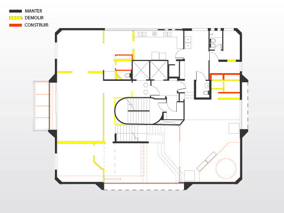 Pavimento térreo: o desenho deixa evidente como foram demolidas as paredes (em amarelo, à esquerda da figura) que compartimentavam a área social