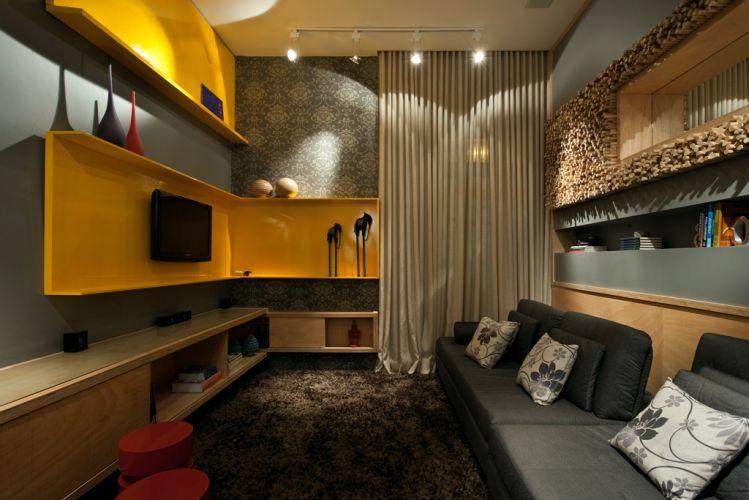 Como Montar Uma Sala De Tv Moderna ~ sala de tv b uso de marcenaria de compensado