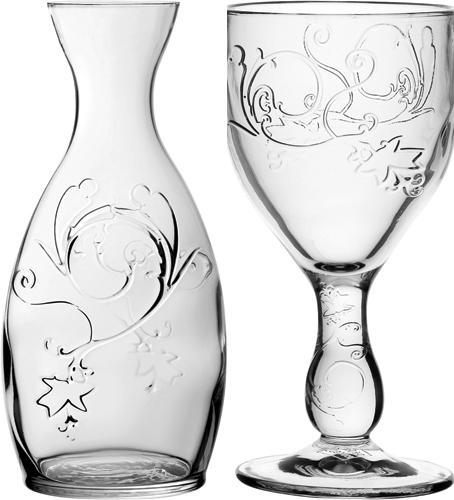 Jarra e taças de vinho da linha
