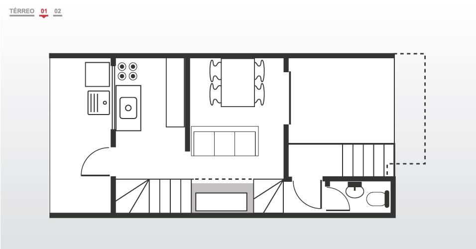 A planta do primeiro pavimento evidencia, do lado direito, a escada externa que dá acesso à casa. Logo no piso de chegada, há um lavabo. No centro, a sala de estar integrada à de jantar; na cozinha, uma porta dá acesso à área de serviço