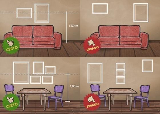 Ilustração mostra o certo e errado no esquema de organização para pendurar quadros