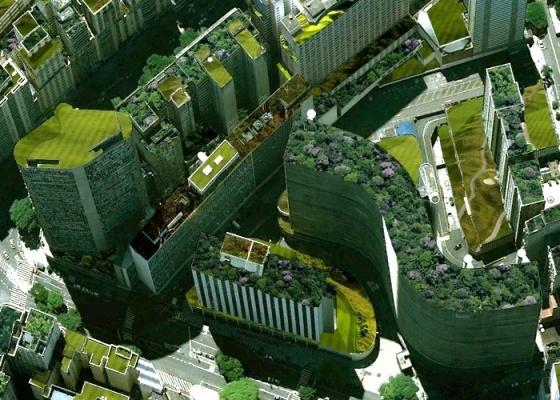 Ilustração sobre foto do Centro de São Paulo mostra como a cidade poderia ser se os edifícios adotassem a os telhados verdes ou ecológicos