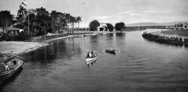 Vista do rio Tietê em 1905, antes de ser retificado e poluído