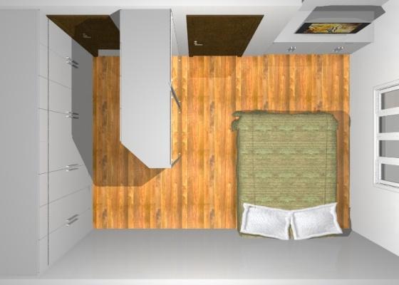 Em um dormitório pequeno, o que fazer na parede entre o  ~ Quarto Pequeno O Que Fazer