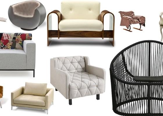 Na imagem, poltronas de diversos designers, vários estilos e diferentes preços