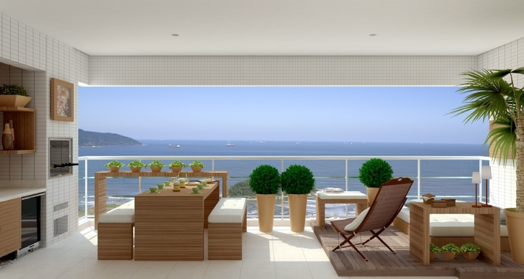 Perspectiva de Terraço Gourmet em apartamento do empreendimento Enseada das Orquídeas, em Santos (SP)