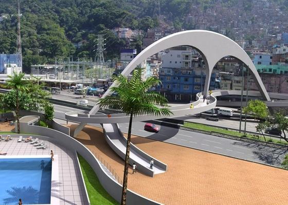 A passarela para pedestres na favela da Rocinha, no Rio de Janeiro (RJ). A obra possui 60 metros de extensão e liga a favela ao bairro de São Conrado