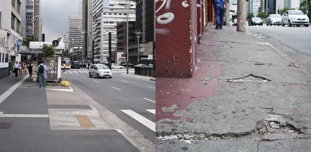 Trecho da avenida Paulista com calçada em boas condições (esq.) e, na mesma avenida, entre a rua da Consolação e a rua Minas Gerais, calçada esburacada (15/02/2011)