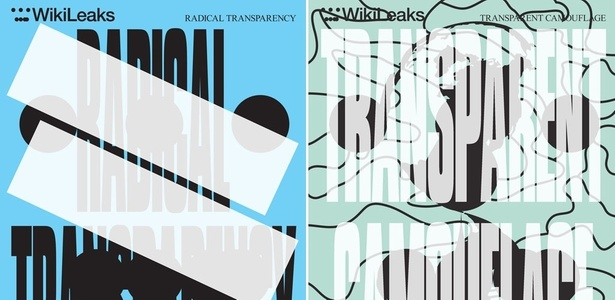 Pôsteres criados pelo grupo Metahaven para o WikiLeaks Identity Project (2011)
