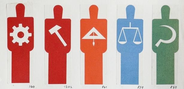 """""""Dicionário de figuras"""" do sistema Isotype, criado por Gerd Arntz e Otto Neurath"""