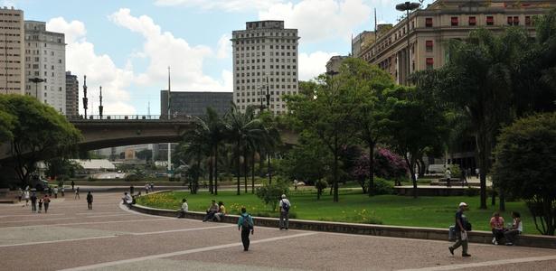 Vista do Vale do Anhangabaú, no Centro de São Paulo: reforma da Fan Fest