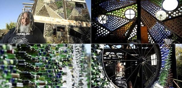 Após recolher cascos por 21 anos, artesão constrói casa com 6 milhões de garrafas - Montagem/elclarín.com /BBC