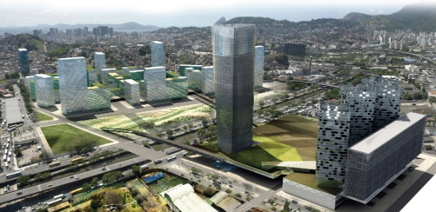 Vista geral do projeto vencedor, desenvolvido por João Pedro Backheuser em parceria com um escritório de arquitetura de Barcelona. Projeto para a zona portuária do Rio  - Divulgação