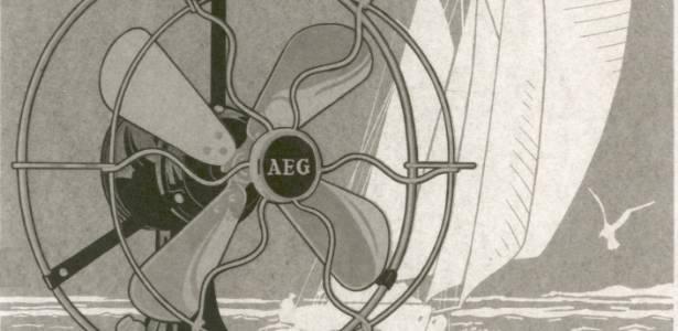 Anúncio de 1908 para a AEG, empresa que faz parte da sueca Electrolux