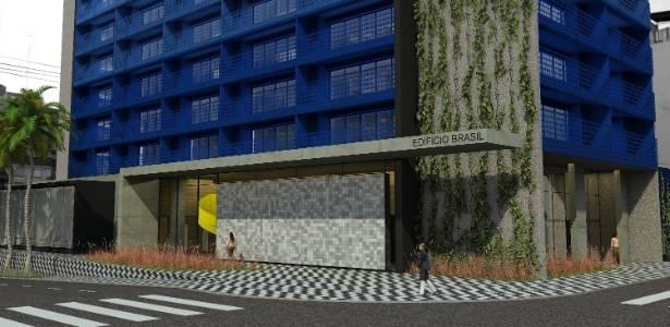 Projeção da fachada do edifício Brasil, na Bela Vista, de Guto Requena e Marcelo Rosenbaum - Divulgação