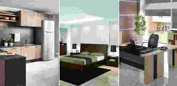 Um dos destaques do evento foram os móveis modulados, projetados para os espaços restritos dos imóveis atuais. Itens para escritórios e home offices também estiveram em evidência - Fotomontagem/Divulgação