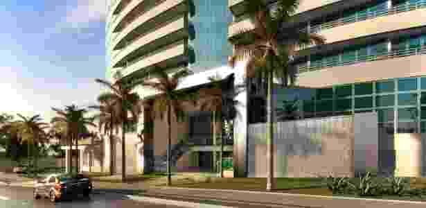 """Projeção esboça a fachada e a entrada do edifício comercial que abrigará, em seus andares superiores, o hotel Ca""""d""""oro. O empreendimento conta com duas torres, uma delas residencial - Divulgação"""