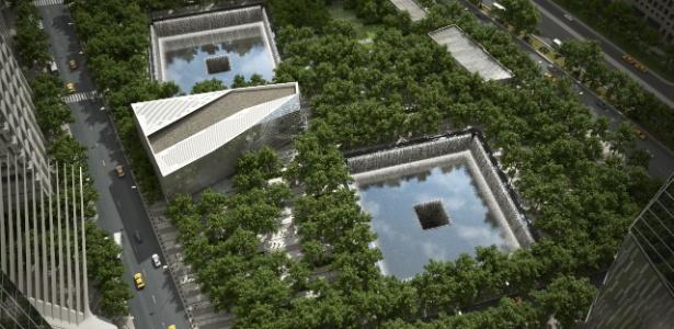 Perspectiva eletrônica simula vista aéra do National September 11 Memorial and Museum - Squared Design Lab / Divulgação