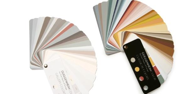 Tabelas de cores das linhas de tintas para paredes lançadas pelo museu Guggenheim, de Nova York: a série Classical Colors recria a paleta de artistas como Cézanne, van Gogh e Kandinsky;<br> a Gallery Colors traz as tonalidades aplicadas nas galerias do museu - Solomon R. Guggenheim Museum, New York