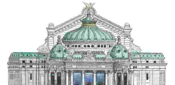 Ilustração que retrata o Theatro Municipal do Rio de Janeiro. O traço é de Pablo de la Riestra - Divulgação